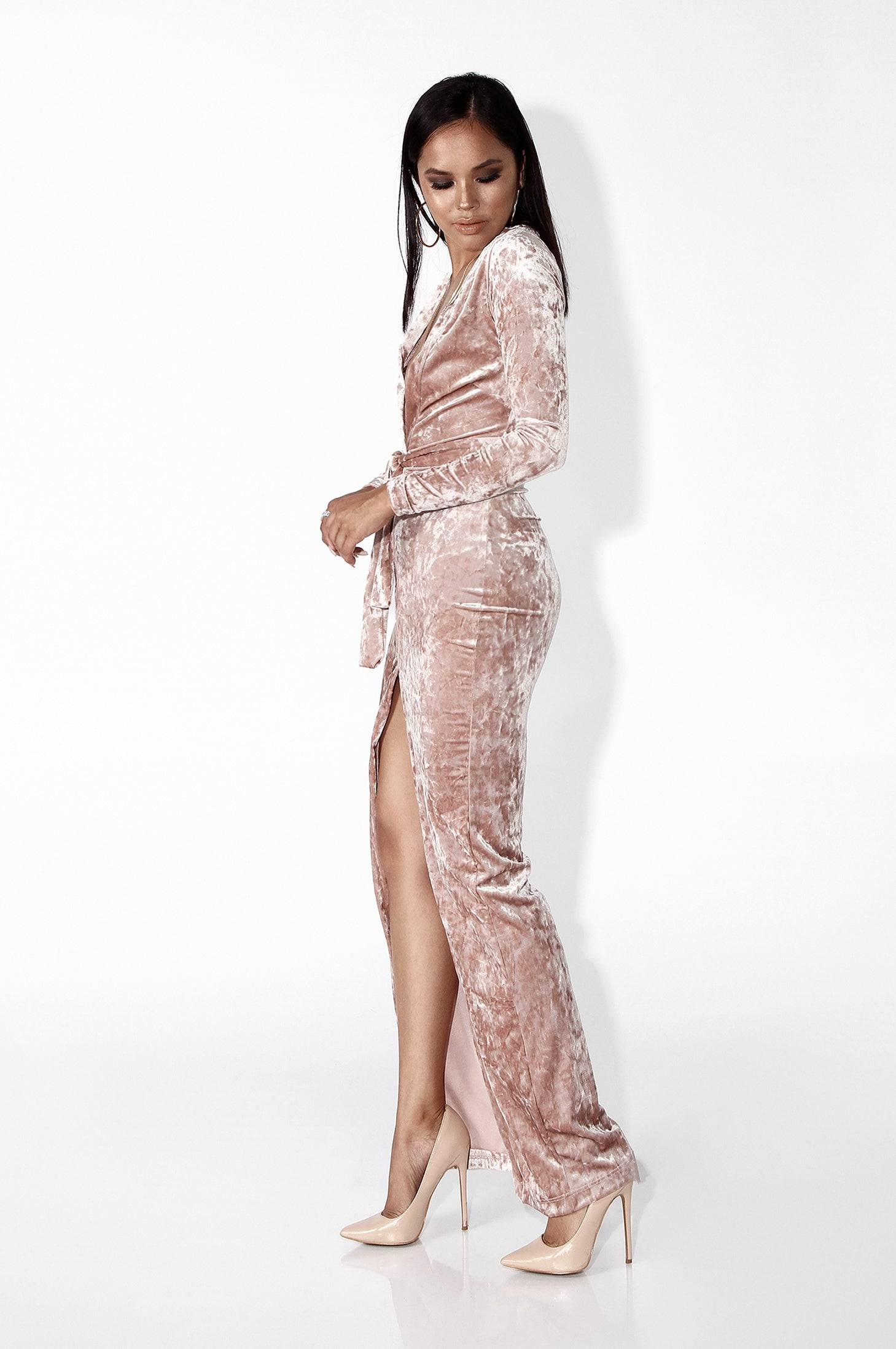Dusty Pink Justine Textured Velvet Maxi Dress