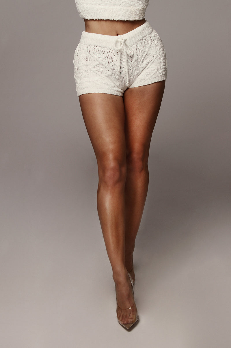 White Cable Knit Fleece Shorts
