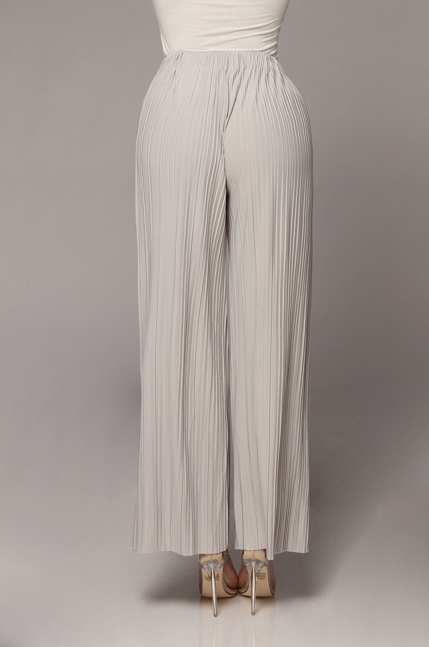 Grey Chanille Wide Leg Pleated Pants