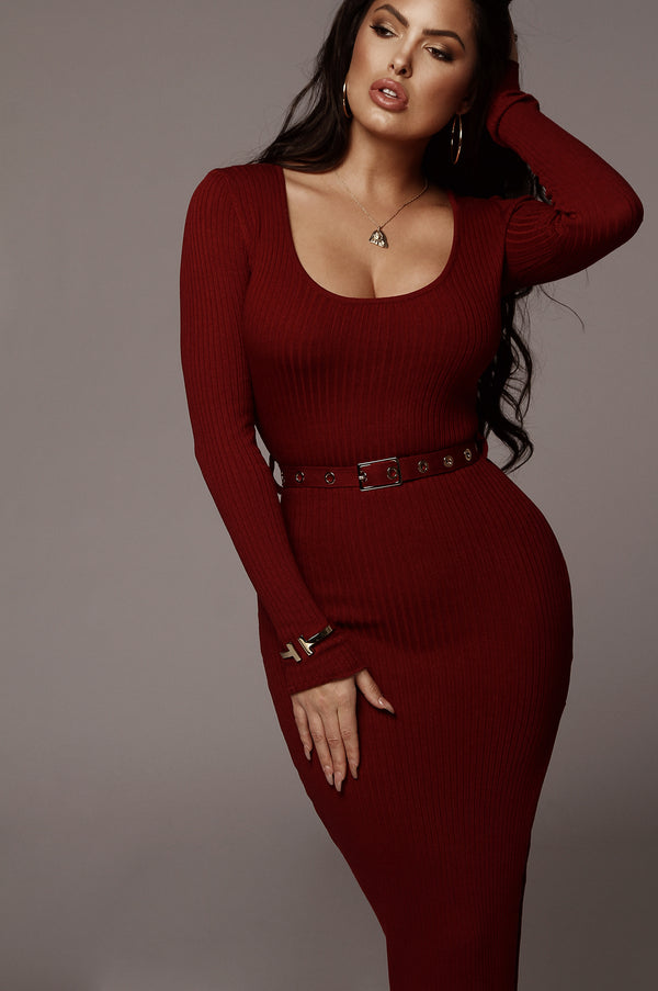 Wine Cecile Ribbed Dress