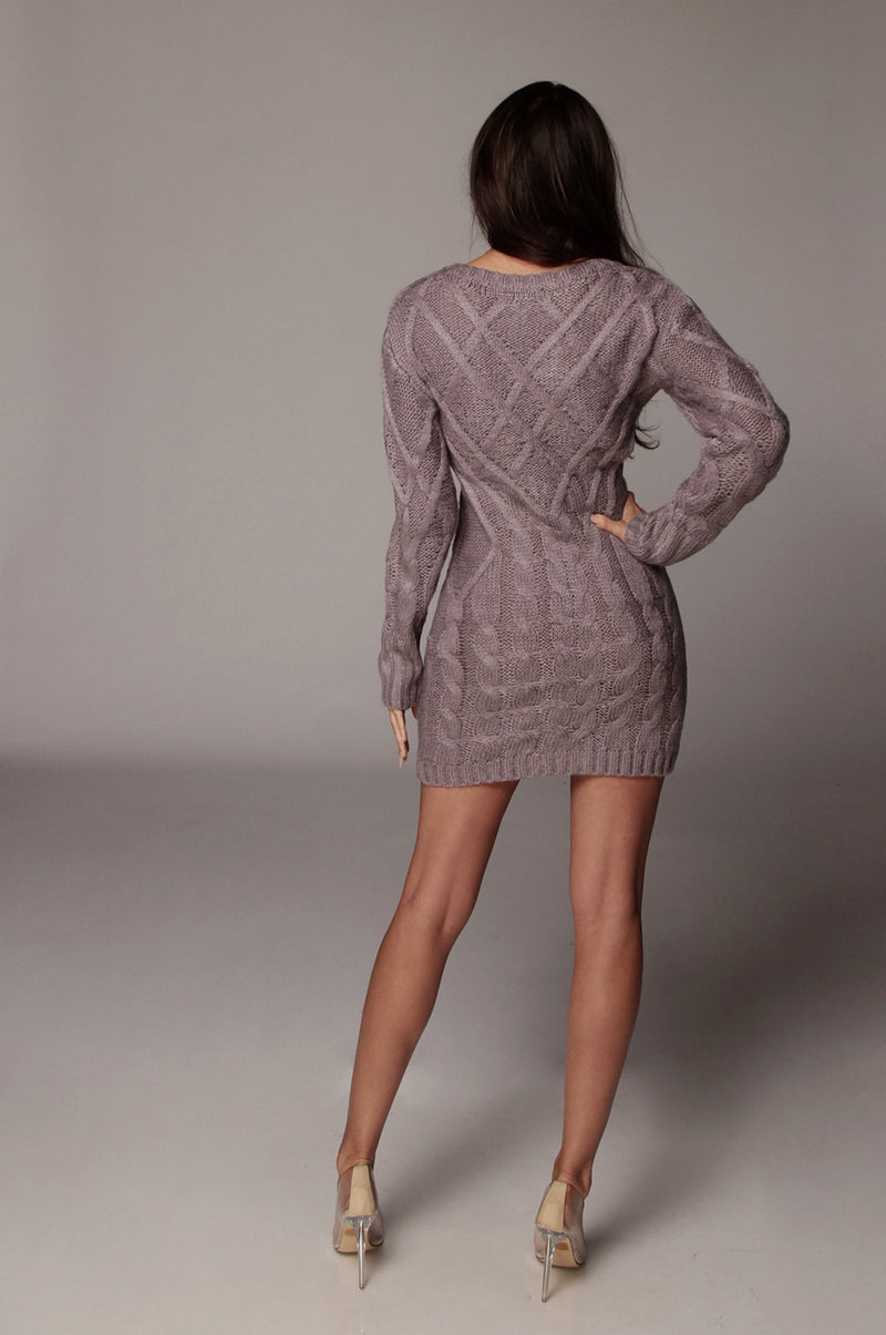 Purple Bea Cable Sweater Dress