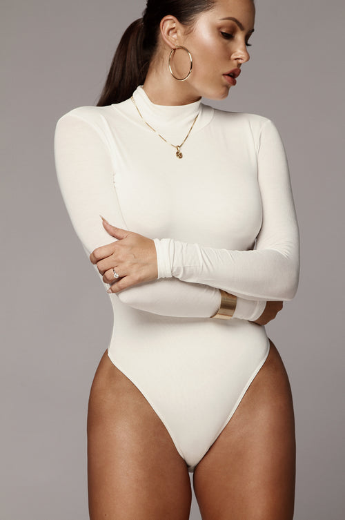 Ivory Luna Mock Neck Bodysuit