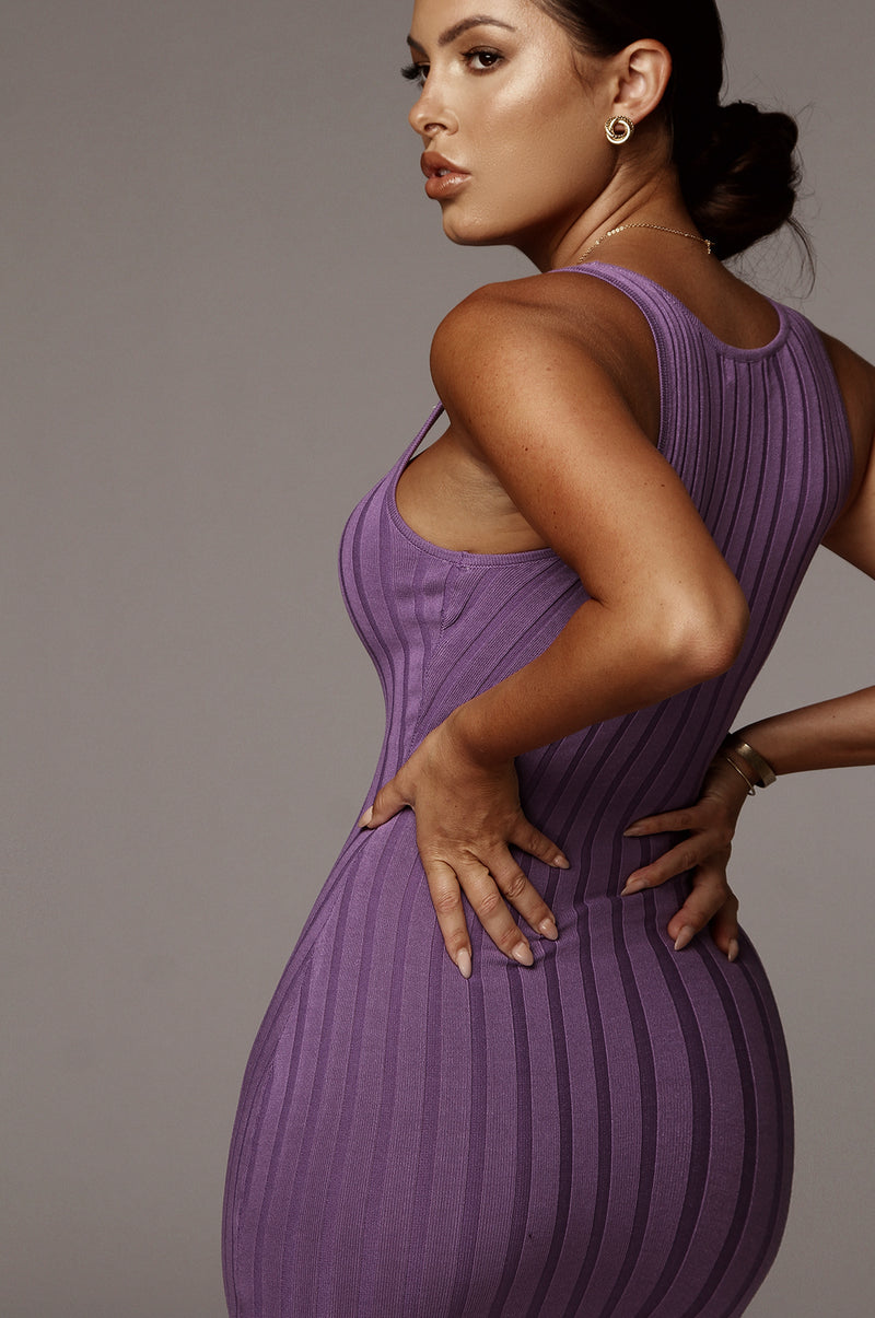 Purple Celina Ribbed Dress