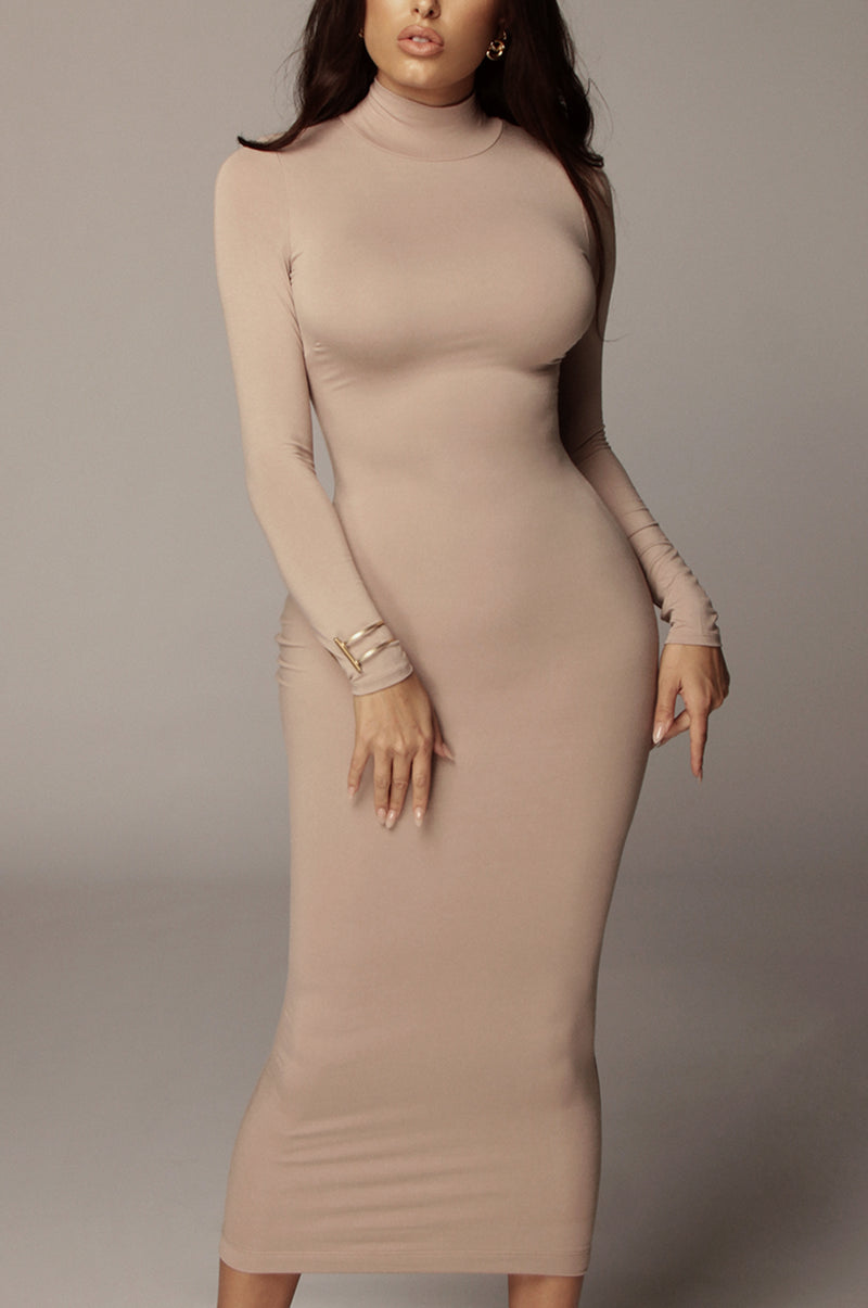 Warm Taupe Janessa Double lined Turtleneck Dress