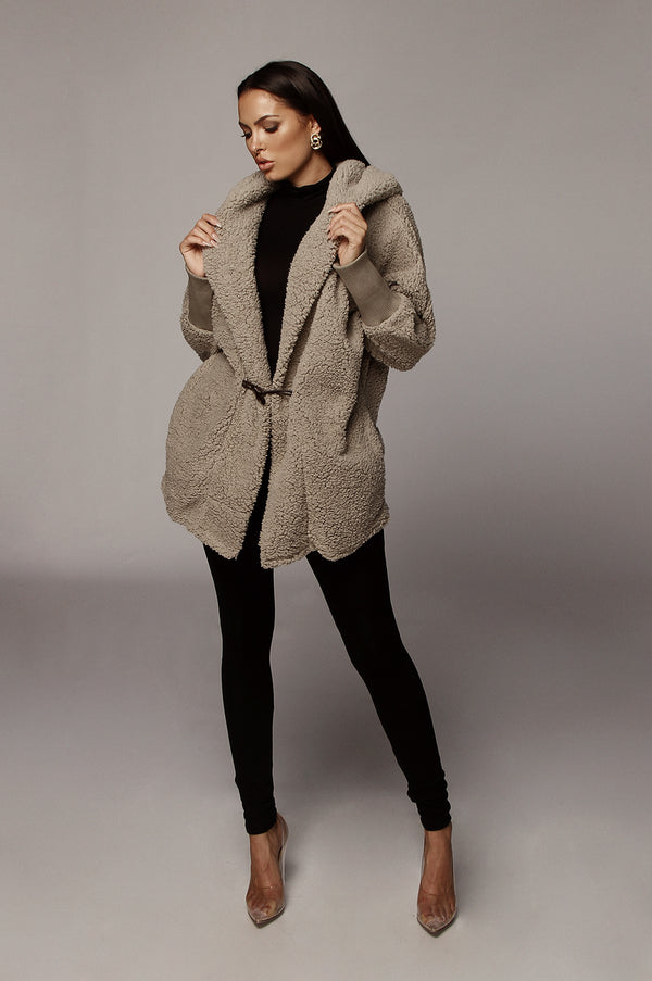 Grey Iceland Faux Shearling Hooded Jacket