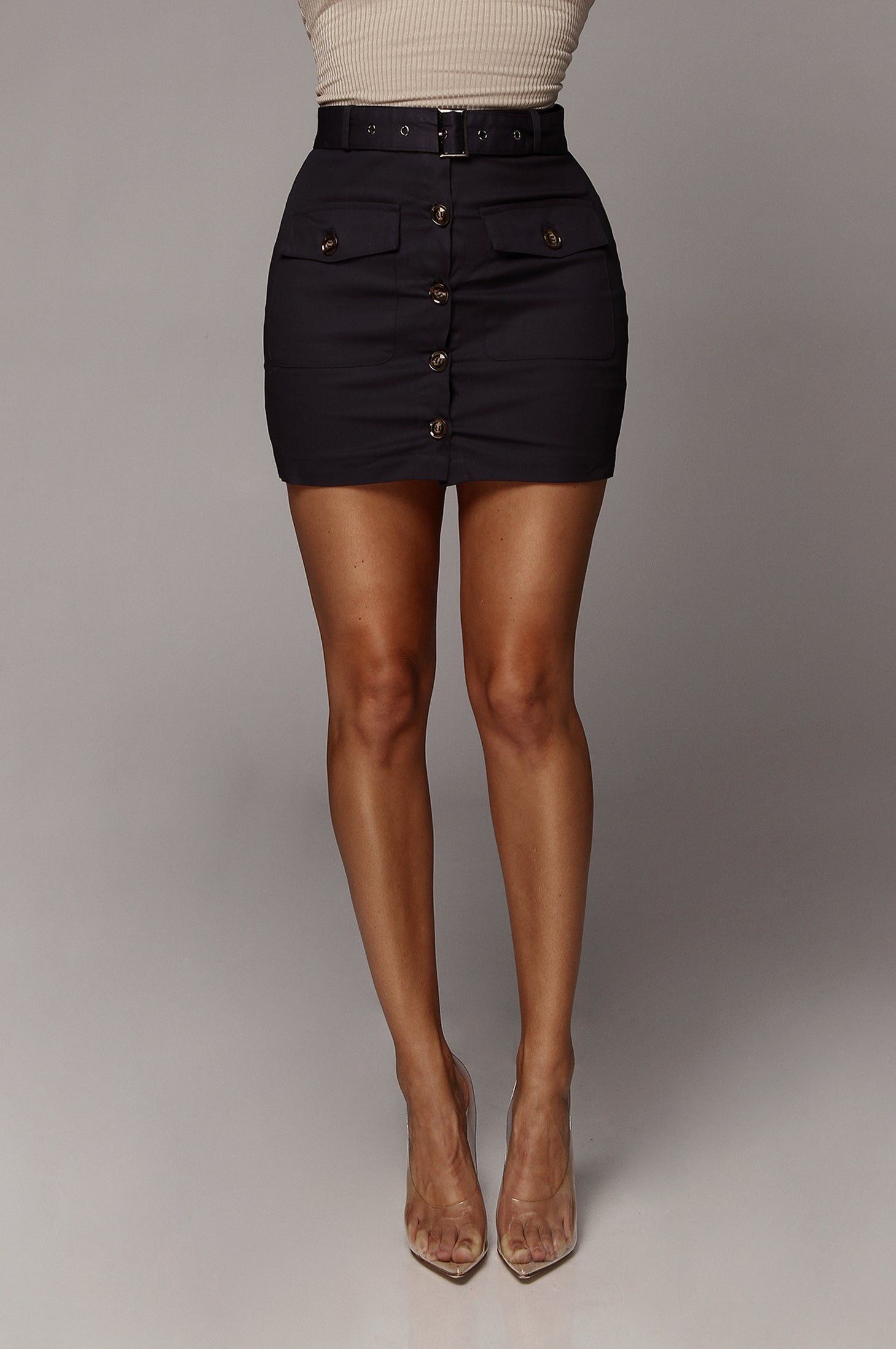 Navy Archer Button Up Mini Skirt