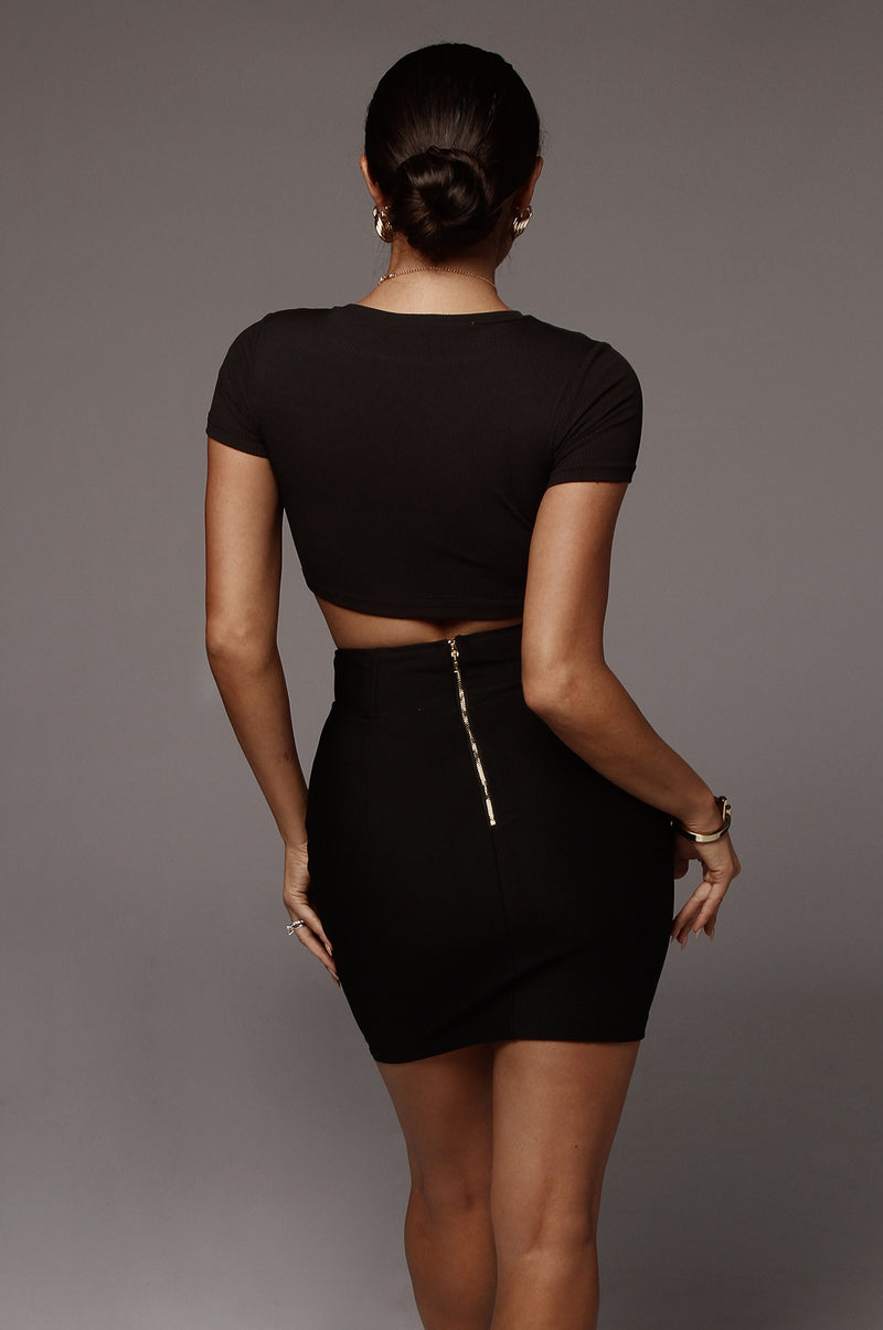 Black Yelena High Waisted Skirt