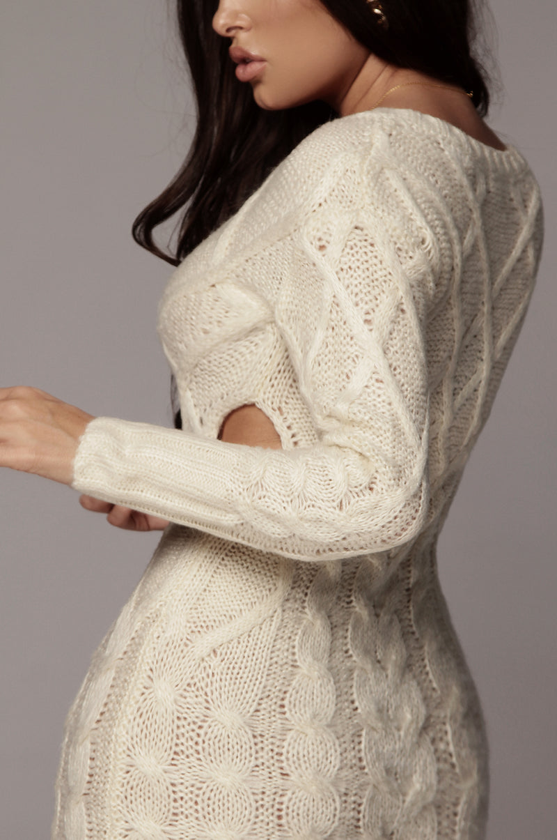 Ivory Bea Cable Sweater Dress