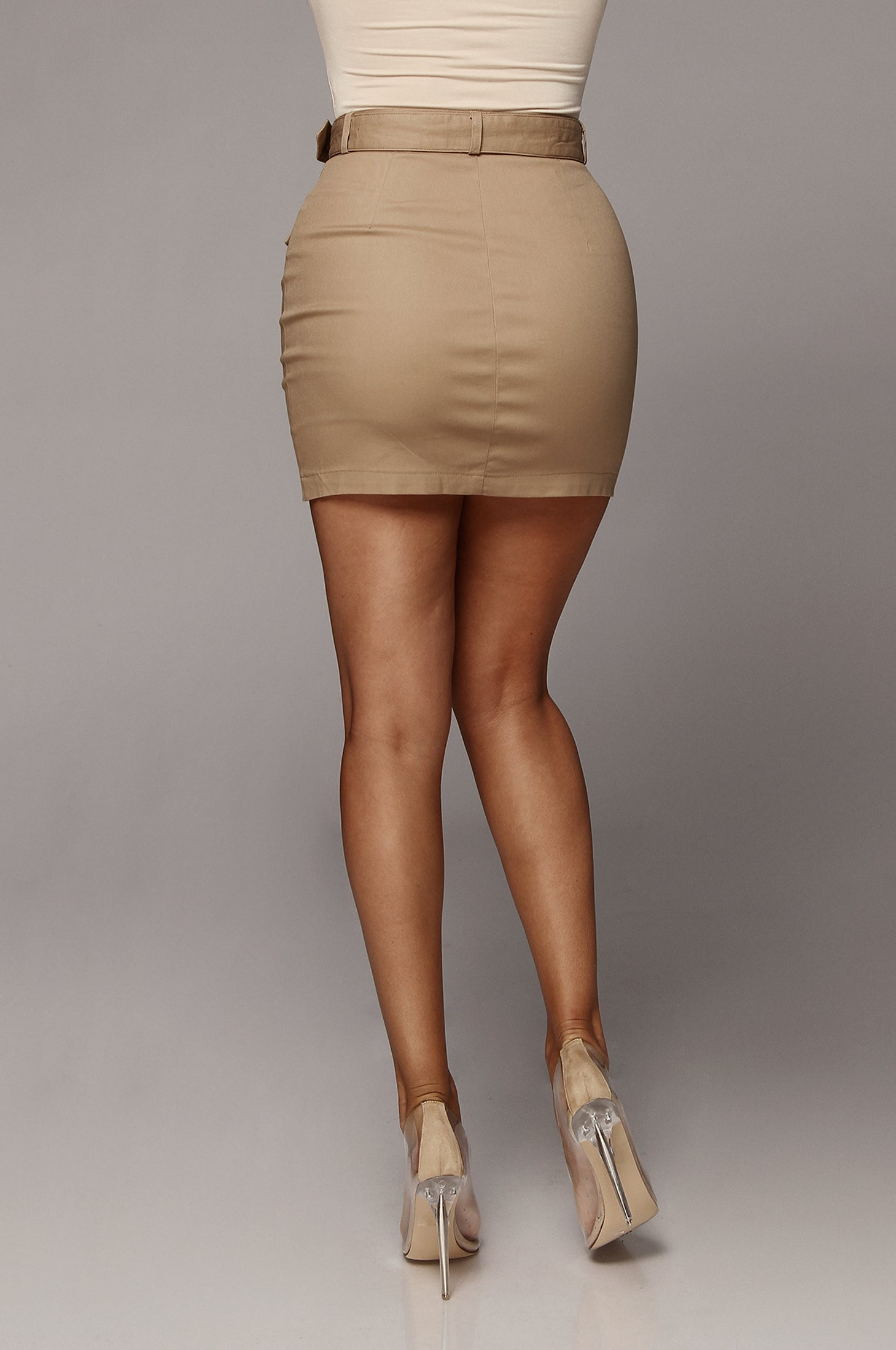 Taupe Archer Button Up Mini Skirt