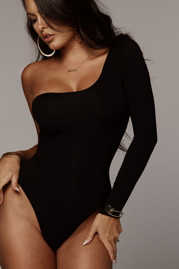 Black Marvel JLUXBASIX One Shoulder Bodysuit