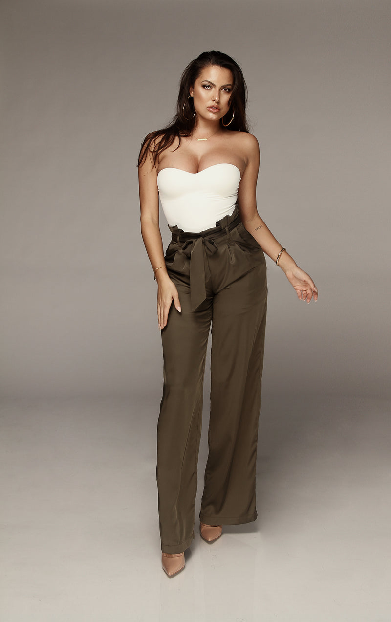 Deep Olive Silked Tulip Tie Trousers