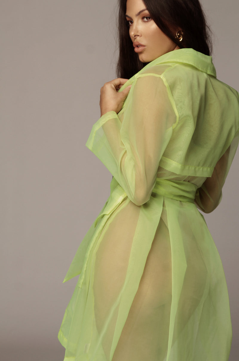 Neon Green Sheer Coat