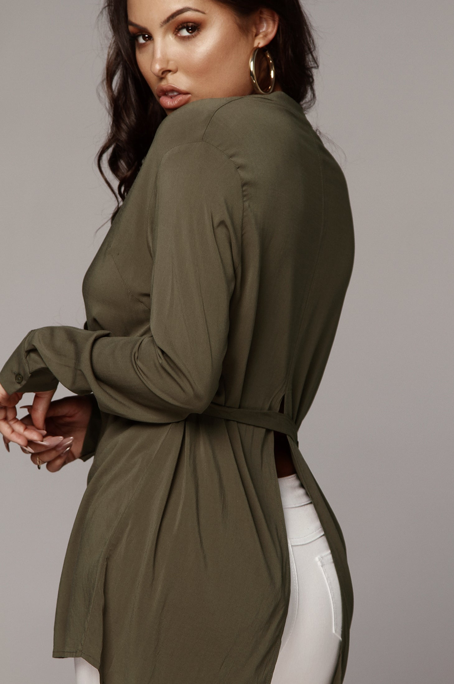 Olive Bryony Belted Tunic