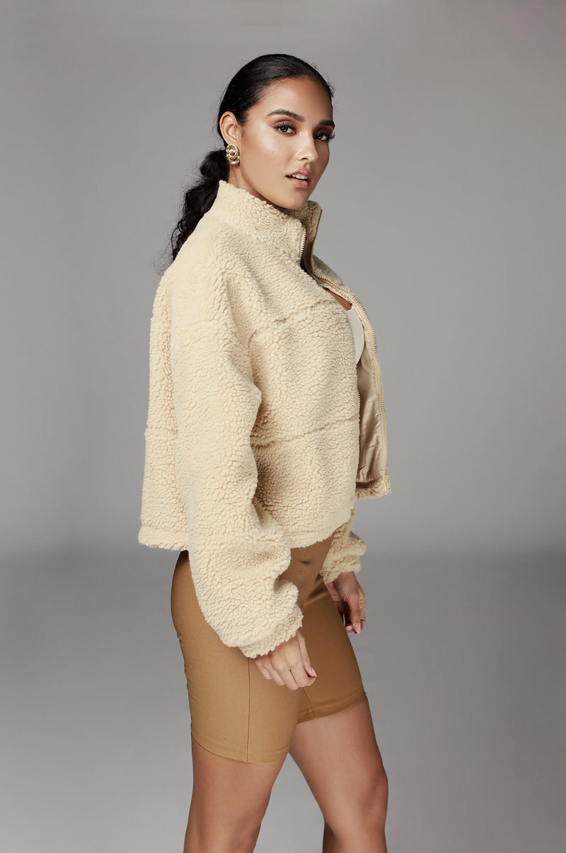 Tan Adreya Teddy Jacket