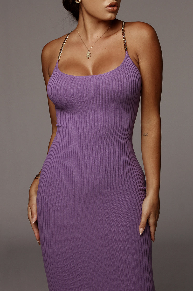 Purple Two Chains Ribbed Dress
