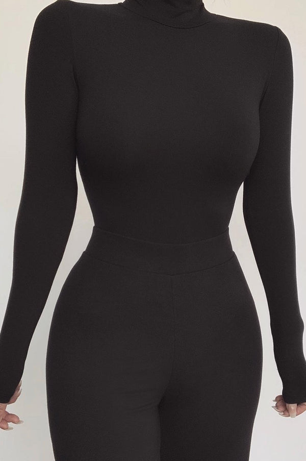 Black Luna Mock Neck Bodysuit