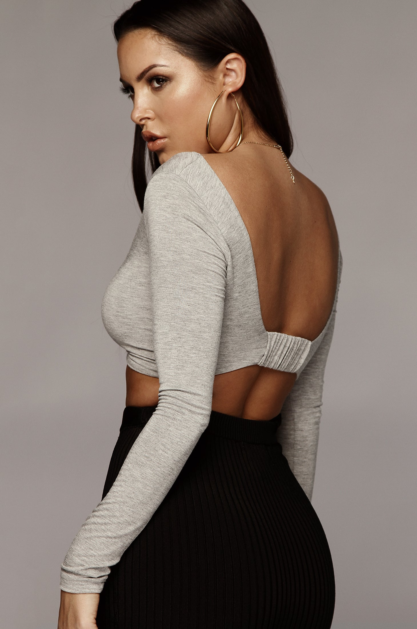 Grey Leslie Open Back JLUXBASIX Crop