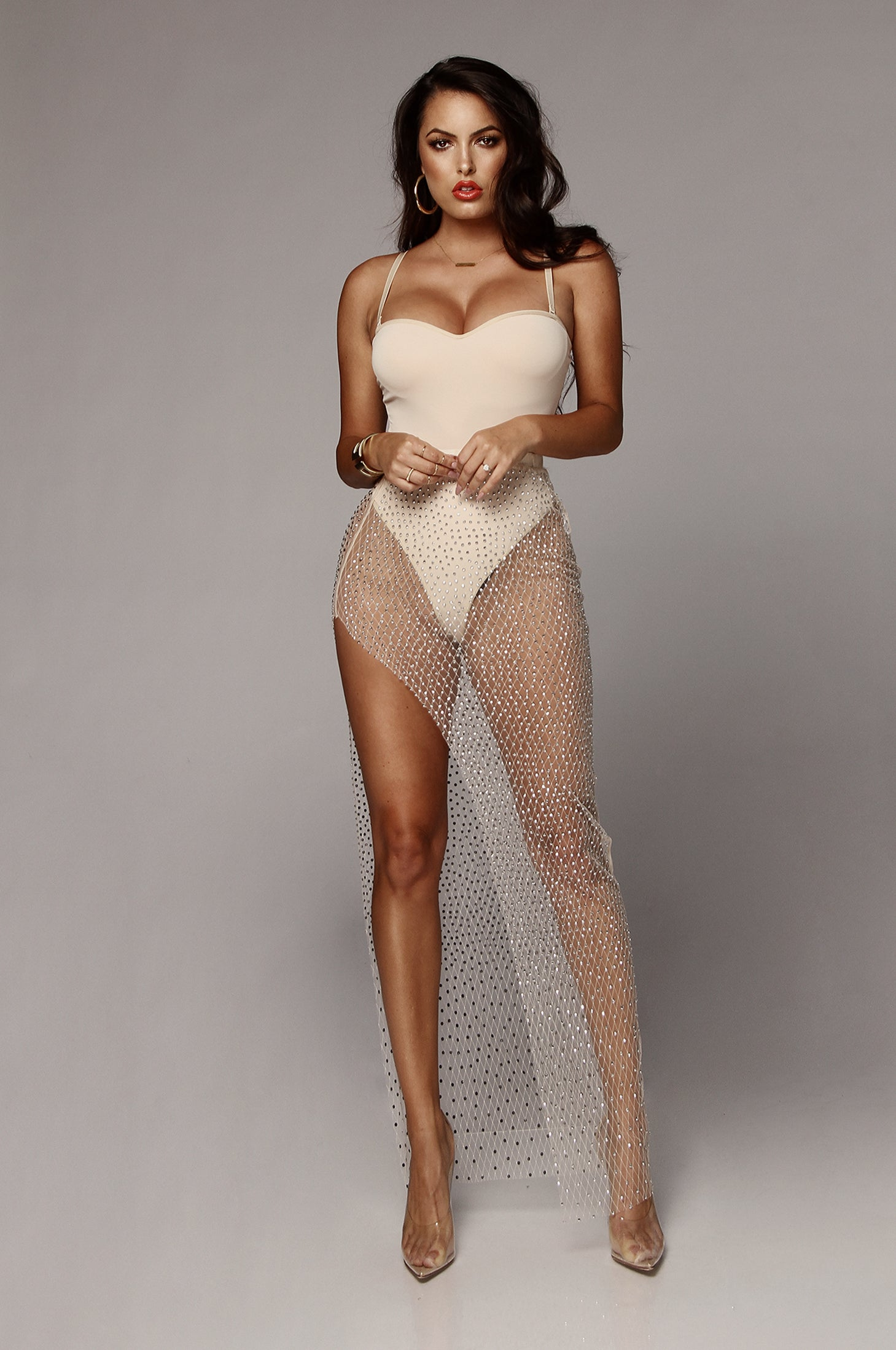 Nude Pisces Rhinestone Sparkle Maxi Skirt