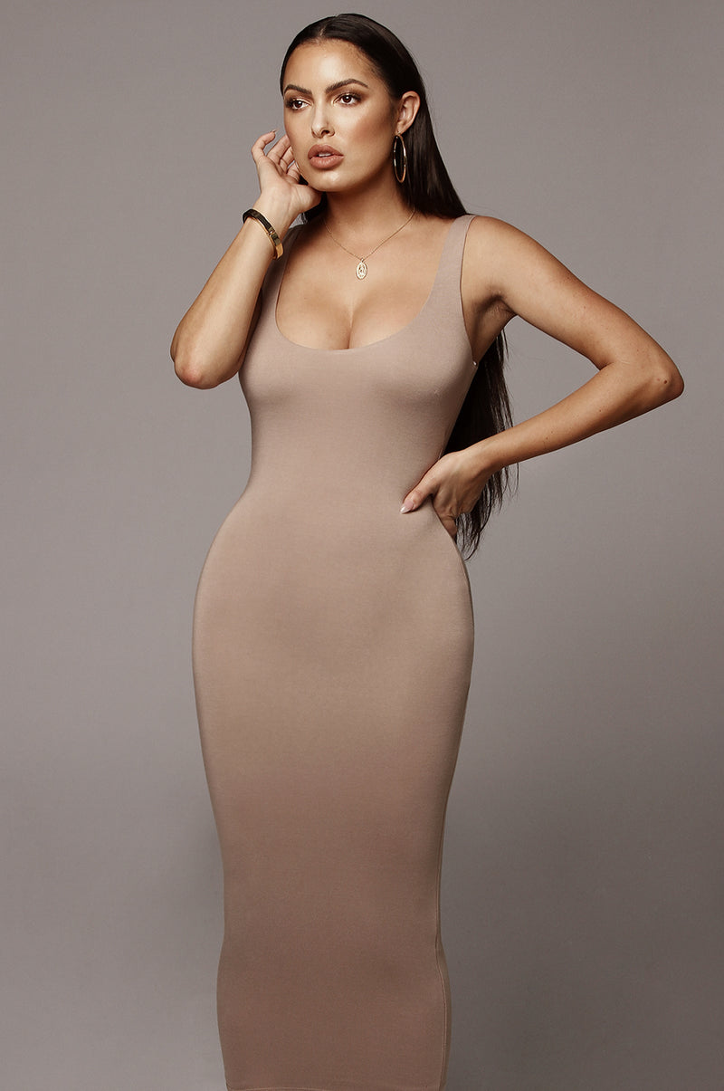 Taupe Rachel JLUXBASIX Midi dress