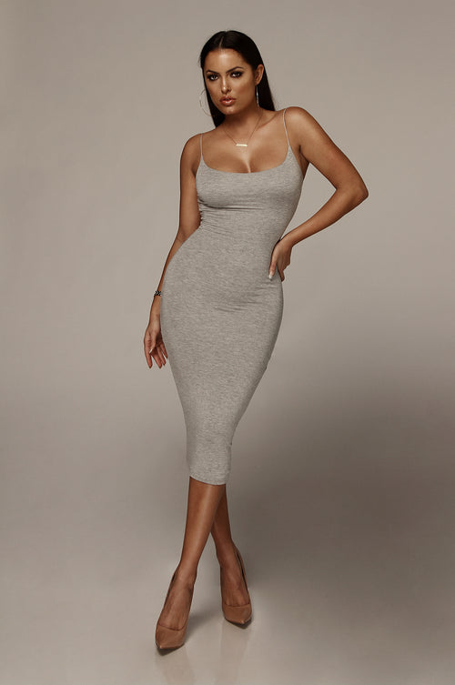 Heather Grey Queens Cord Strap Double Lined Dress