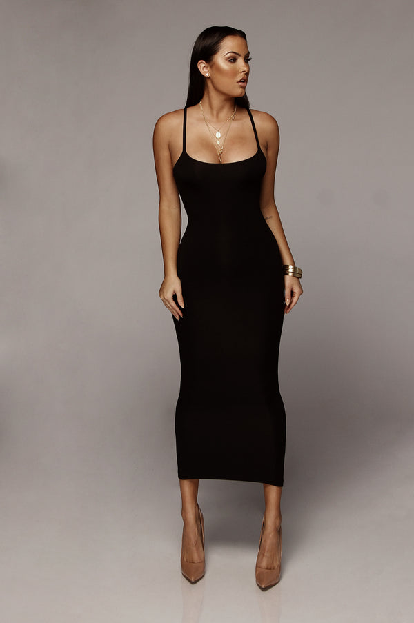 Black Danica Thick Tank Dress