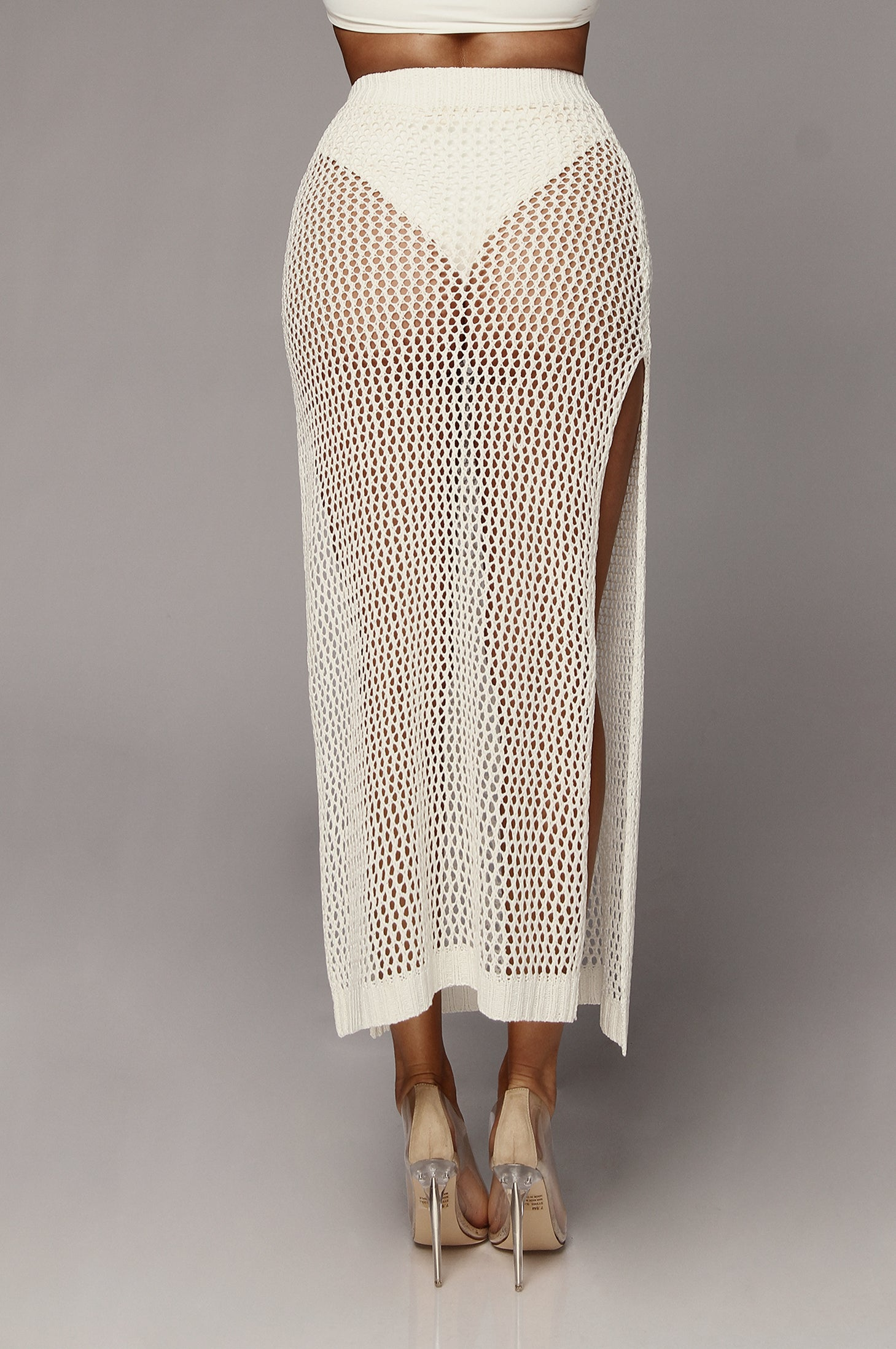 White Ibiza Crochet Maxi Skirt