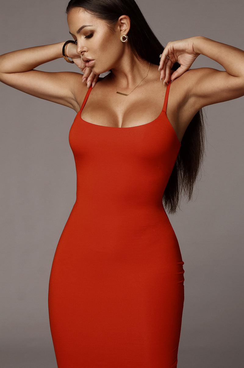 Orange JLUXBASIX New Jersey Double Lined Dress