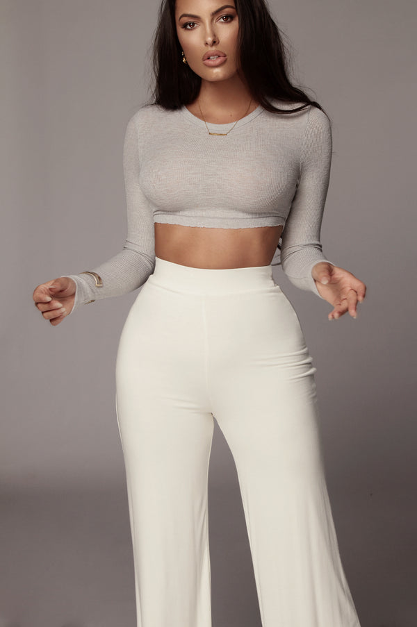 Grey Just Enough Ribbed Crop Top