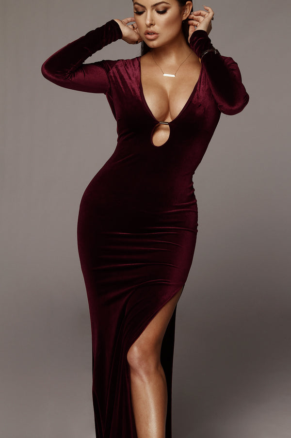 Deep Red Charlie Gold Detailed Velvet Gown