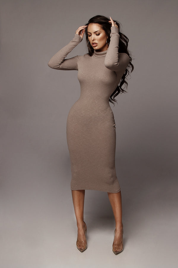 Taupe Zuri Ribbed Mock Neck Dress