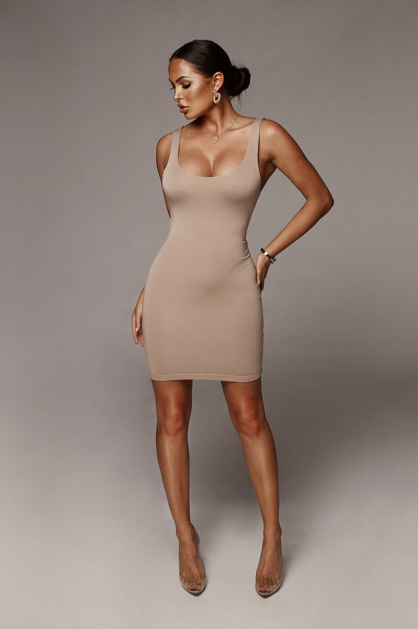 Taupe Lina JLUXBASIX Mini Dress