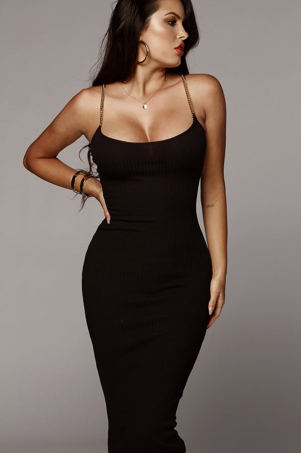 Black Two Chains Ribbed Dress