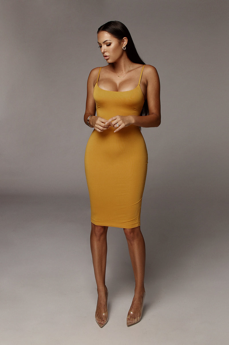 Yellow JLUXBASIX New Jersey Double Lined Dress