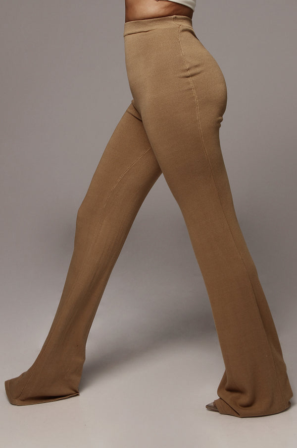 Tan Emma Ribbed Wide Leg Pants