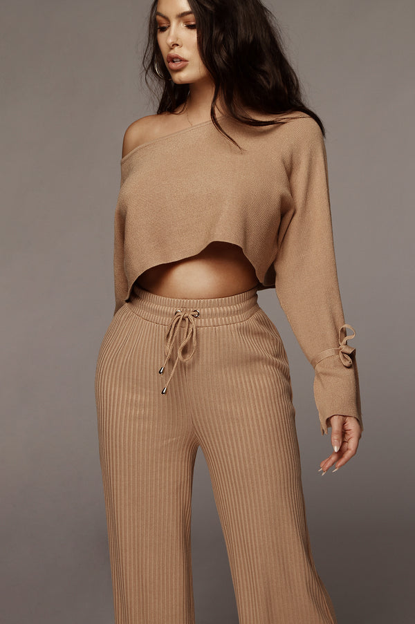 Almond Kaycee Ribbed Pants