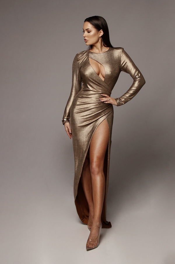 Bronze Beatriz Keyhole Maxi Dress