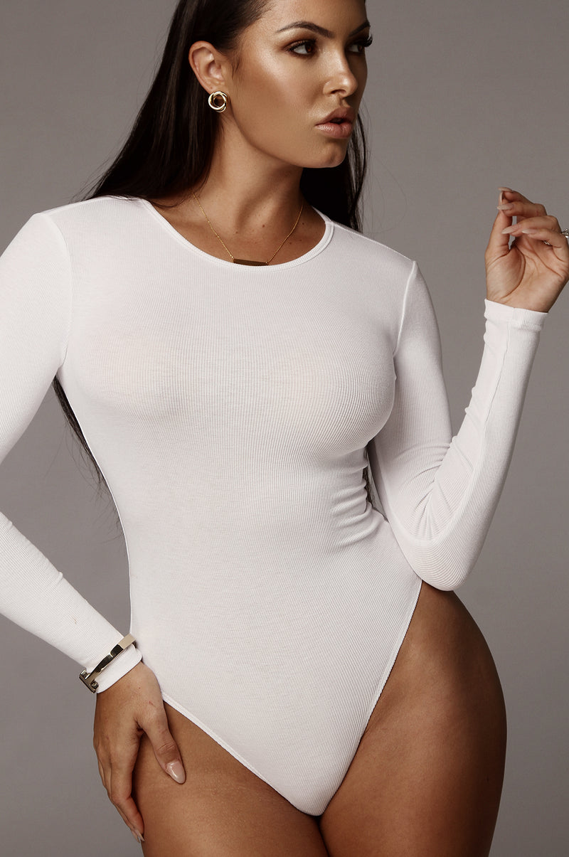 White Essential Ribbed Bodysuit