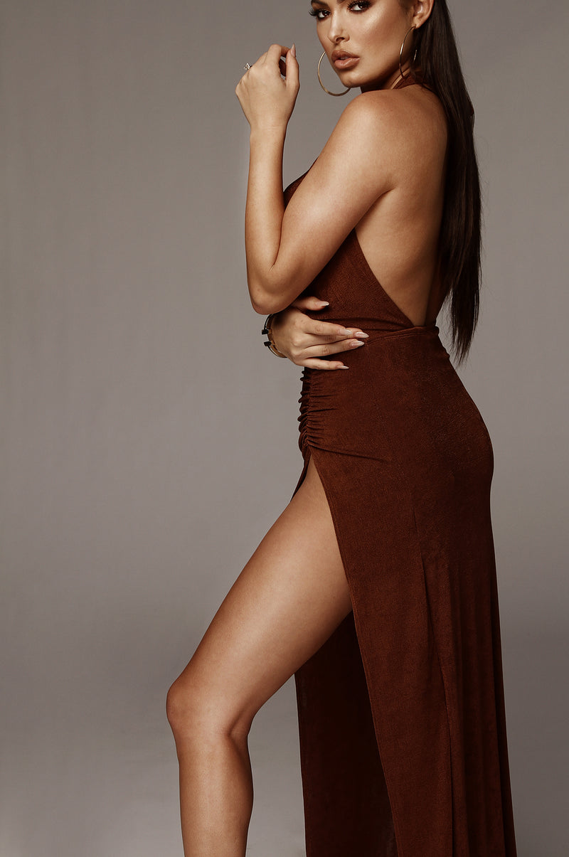 Brown Natasha High Slit Dress
