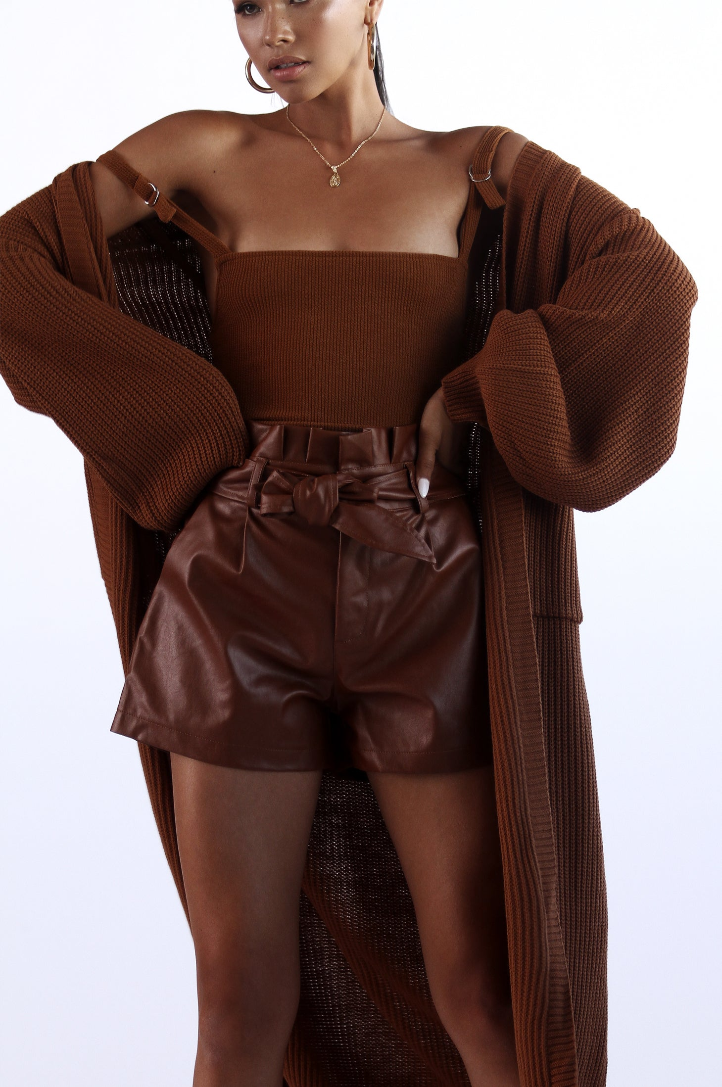 Brown Faux Leather Shorts