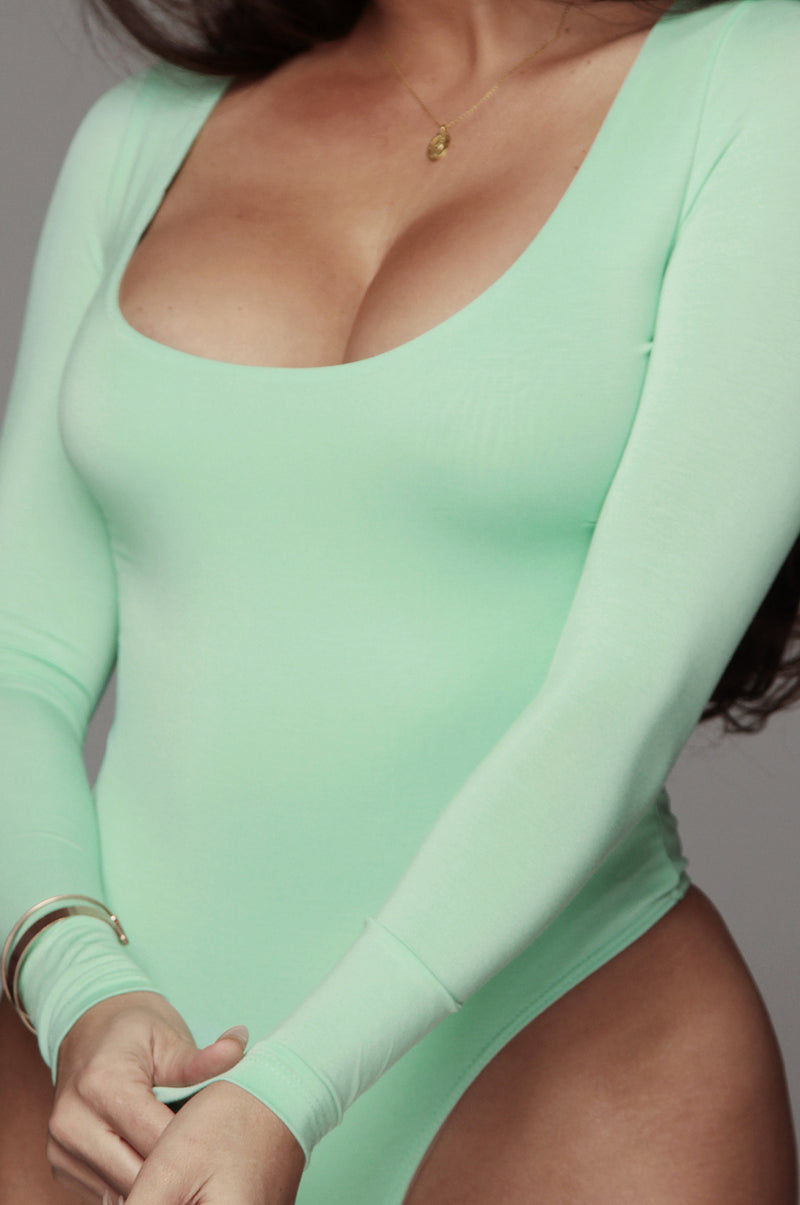 Mint Bethie Scoop Long Sleeve Bodysuit