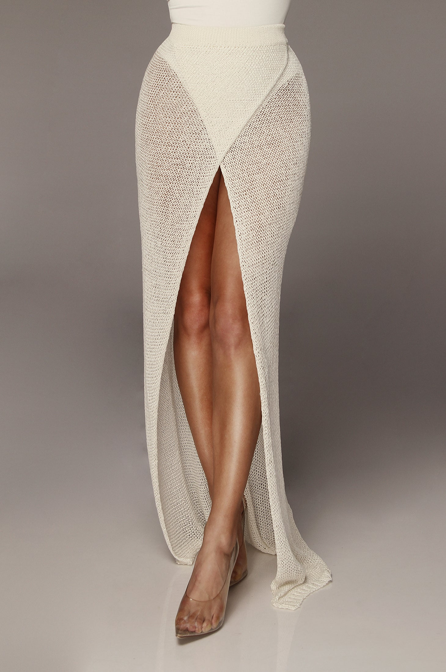 WOW Ivory Overlap Metallic Skirt
