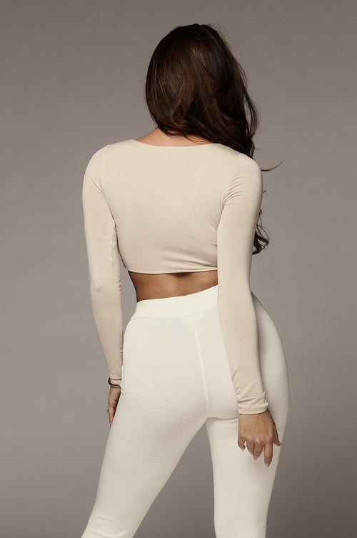 Taupe Long Sleeve JLUXBASIX Crop