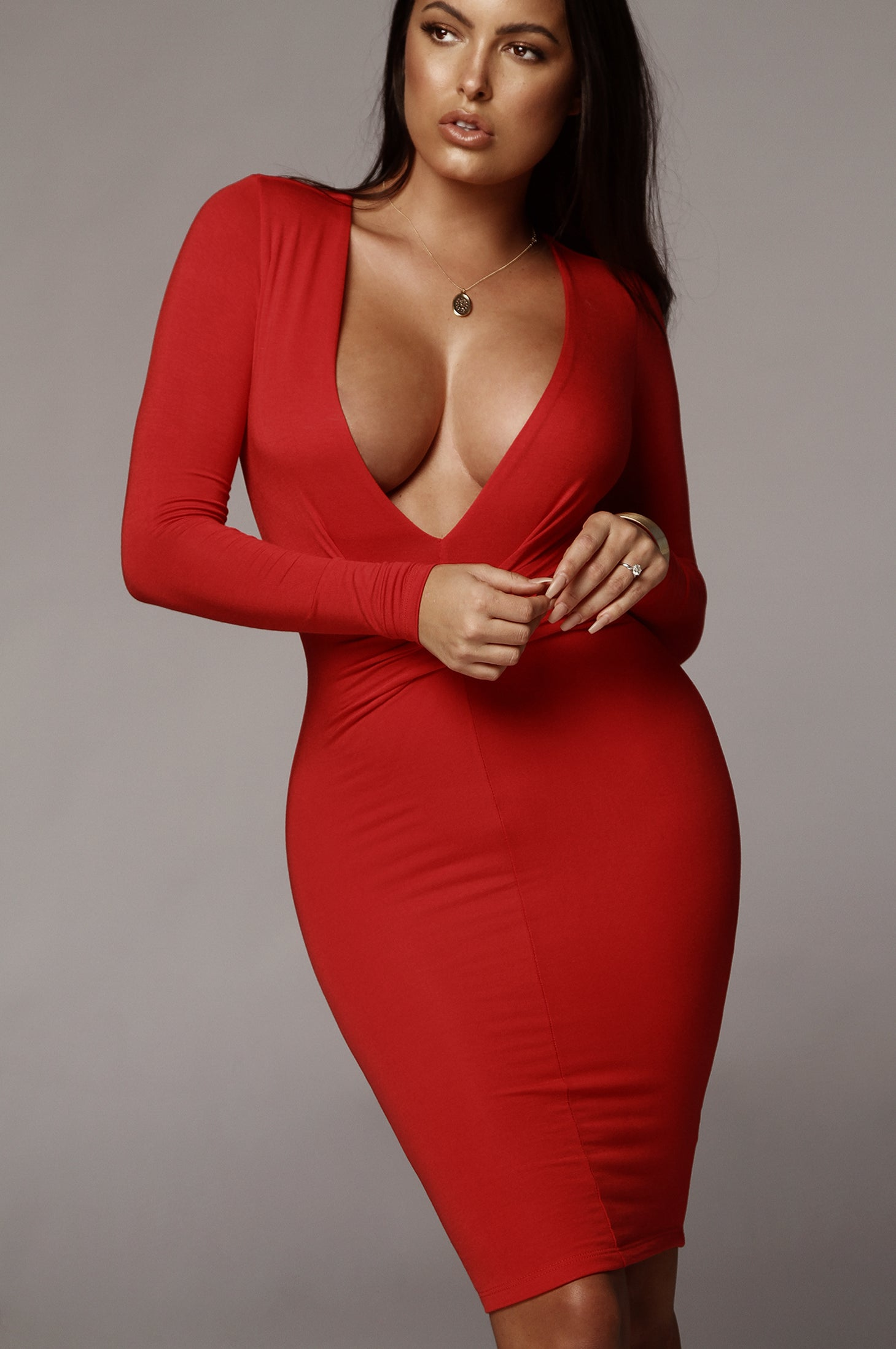 Red Ari Deep V Double Lined Dress