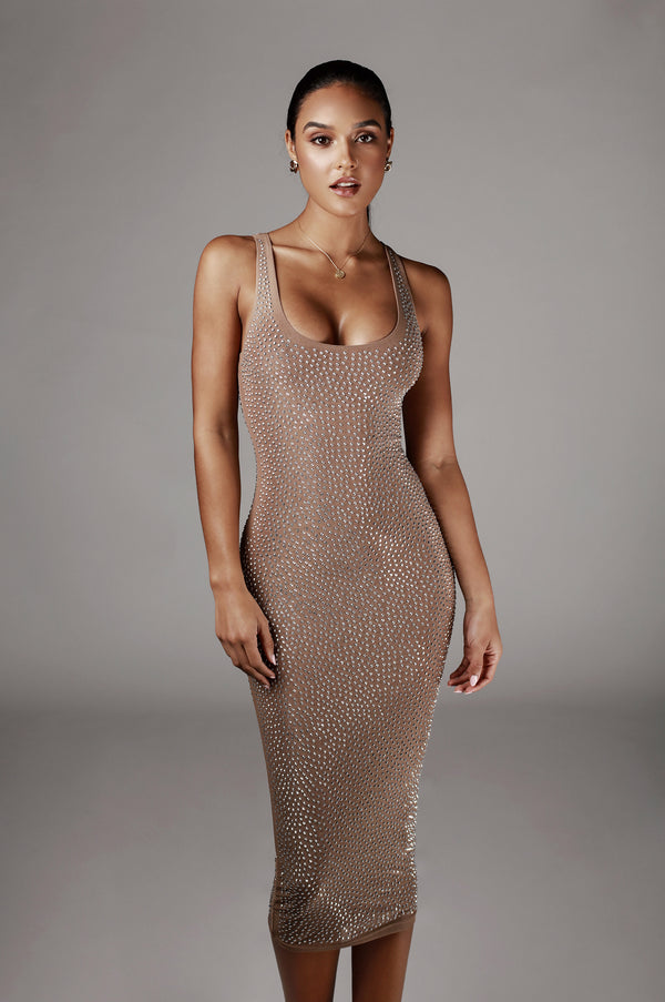 Mocha Lorelei Studded Dress