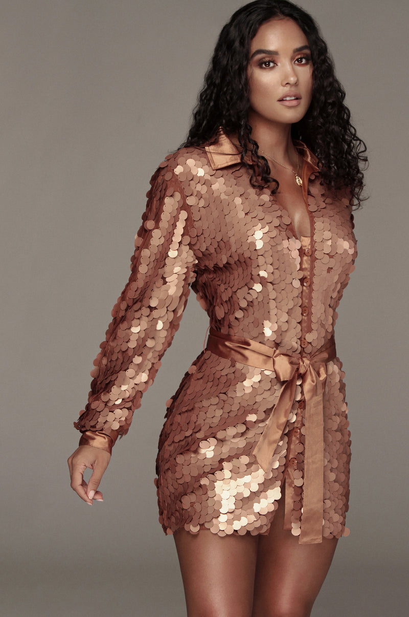 Copper Shay Oversized Sequin Dress