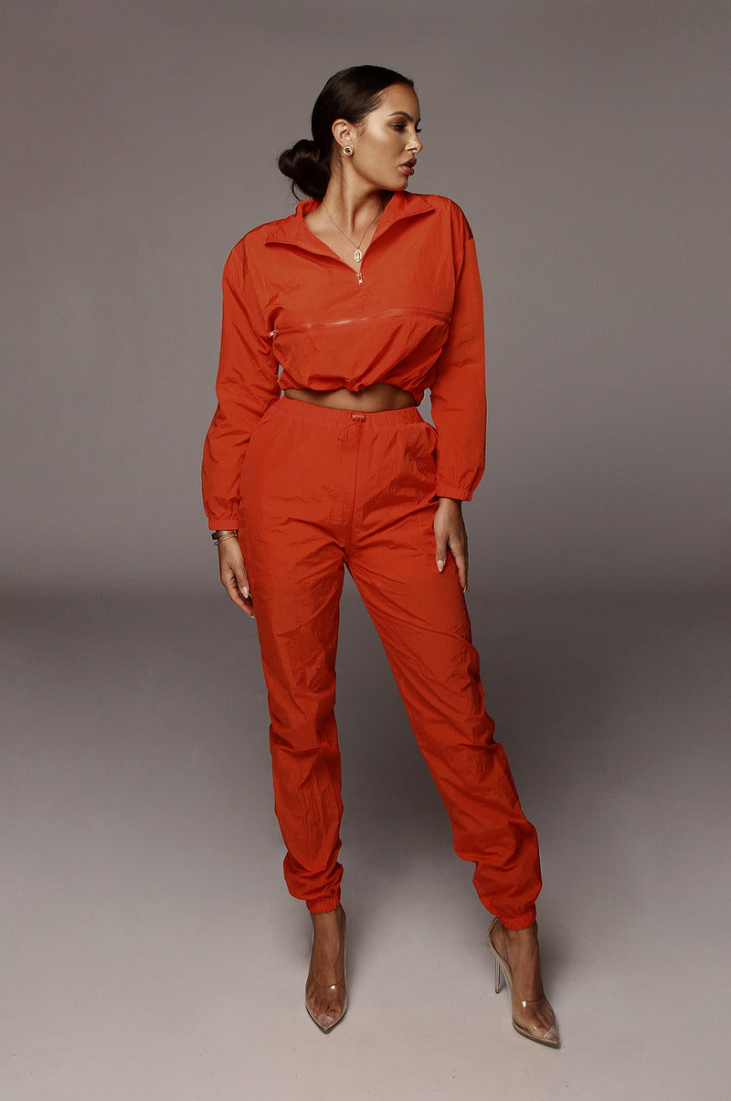 Orange Zipper Front Track Suit