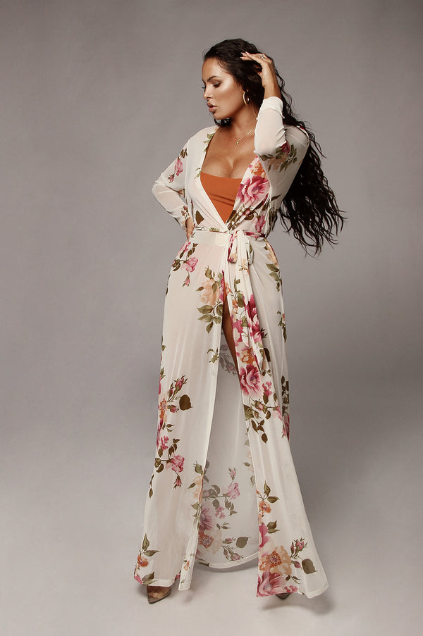 White Kiera Sheer Floral Duster
