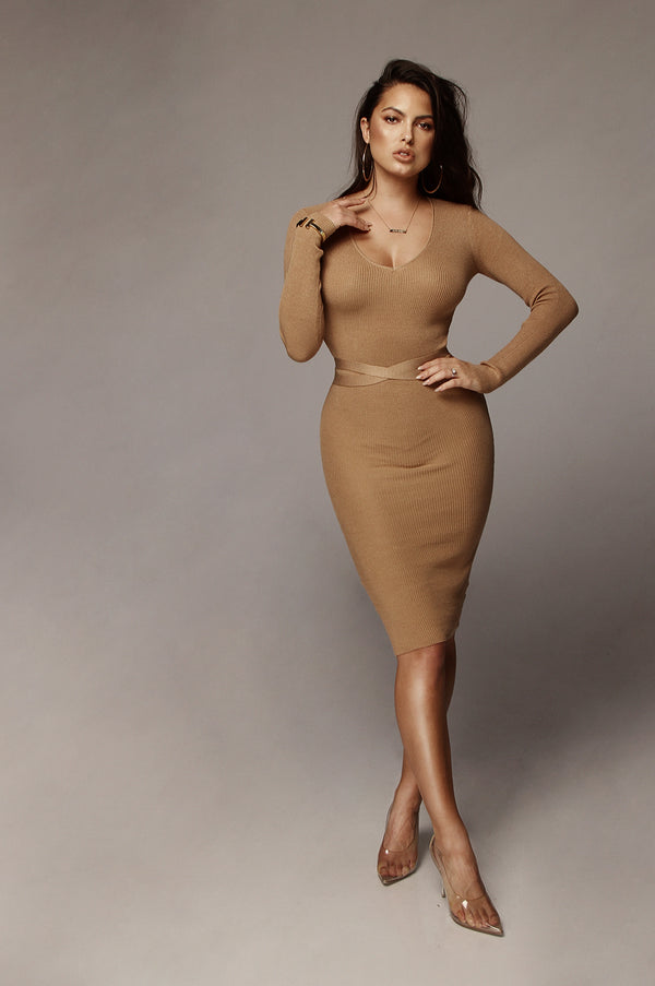 Tan Ileana Ribbed Open Back Dress