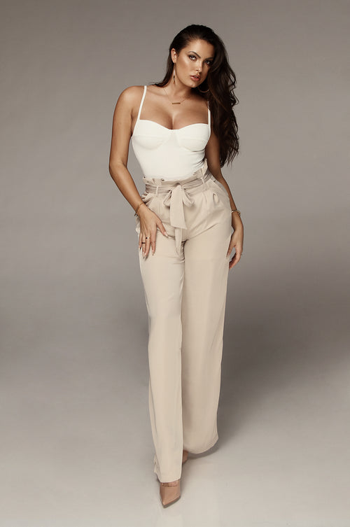 Sand Silked Tulip Tie Trousers