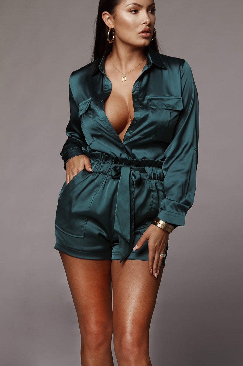 Deep Teal Ivey Silky Blouse